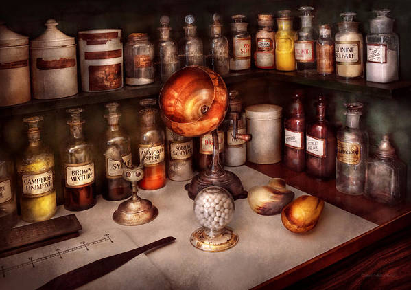 Hdr Poster featuring the photograph Pharmacy - Items From The Specialist by Mike Savad