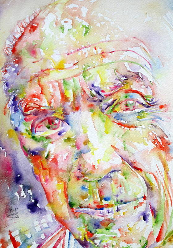 Pablo Poster featuring the painting Picasso Pablo Watercolor Portrait.2 by Fabrizio Cassetta