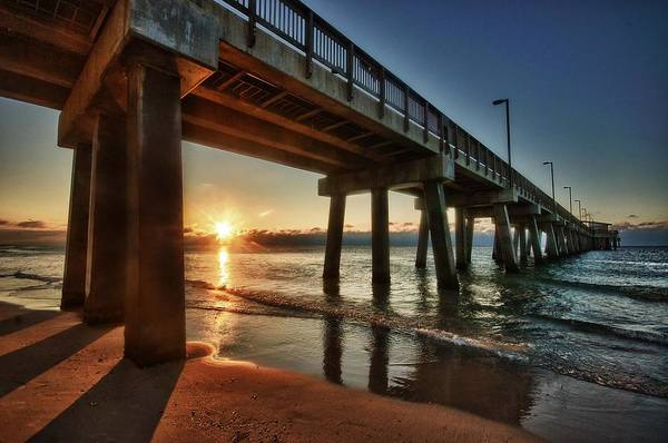 Alabama Poster featuring the digital art Pier Sunrise by Michael Thomas