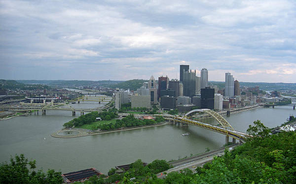 Allegheny Poster featuring the photograph Pittsburgh - View Of The Three Rivers by Frank Romeo