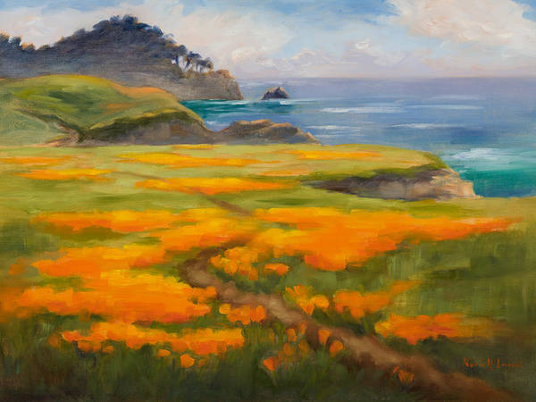Point Lobos Poster featuring the painting Point Lobos Poppies by Karin Leonard