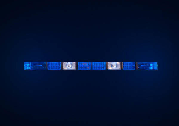 Ambulance Poster featuring the photograph Police Emergency Lights With Blue Surrounding Light by Fizzy Image