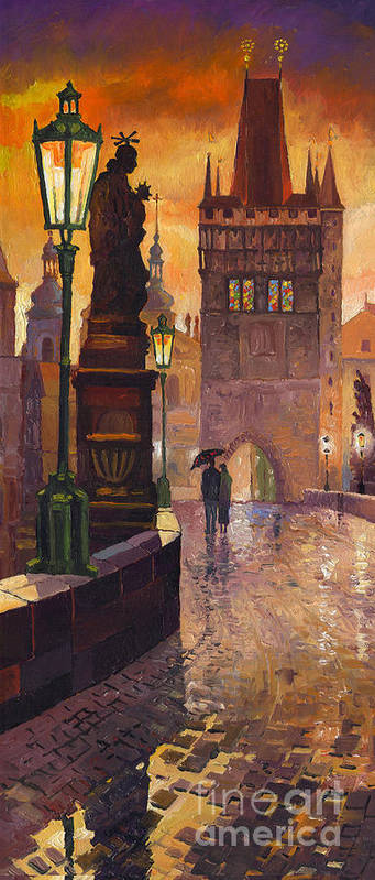 Prague Poster featuring the painting Prague Charles Bridge 01 by Yuriy Shevchuk