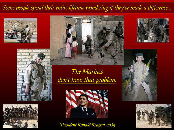 Marine Poster featuring the digital art President Reagan Quote by Annette Redman