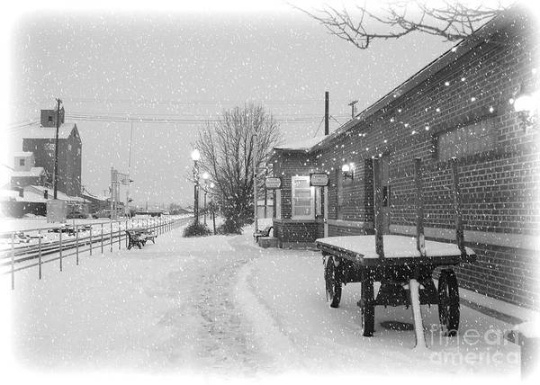 Winter Poster featuring the photograph Prosser Winter Train Station by Carol Groenen