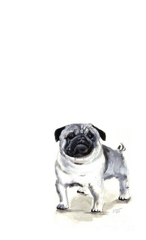 Pug Poster featuring the painting Pug 1 by Barbara Marcus
