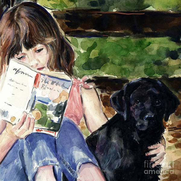 Black Lab Puppy Poster featuring the painting Pup And Paperback by Molly Poole