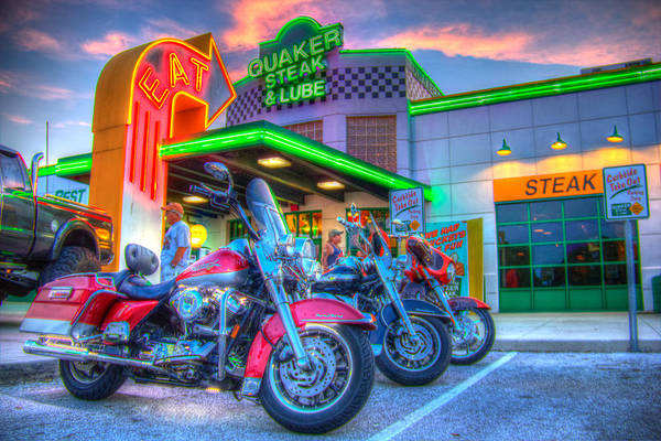 Quaker Poster featuring the photograph Quaker Steak And Lube Bike Night by Zane Kuhle