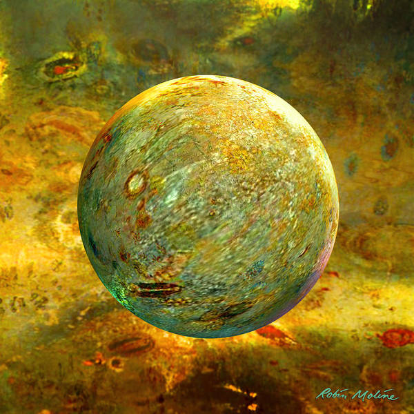 Yellow Poster featuring the digital art Quantum Soul...orb Of Light by Robin Moline