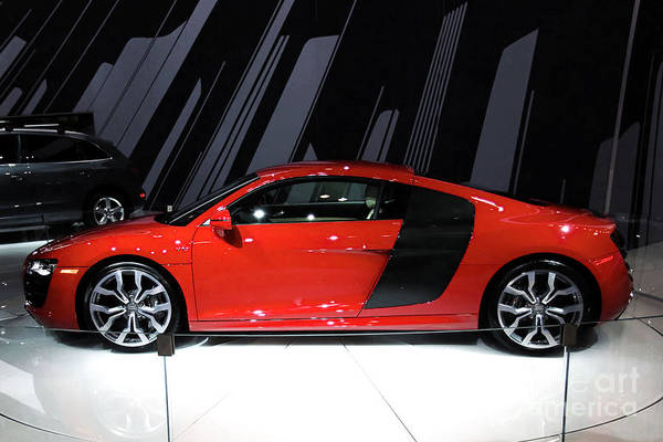 Automotive Poster featuring the photograph R8 In Red by Alan Look