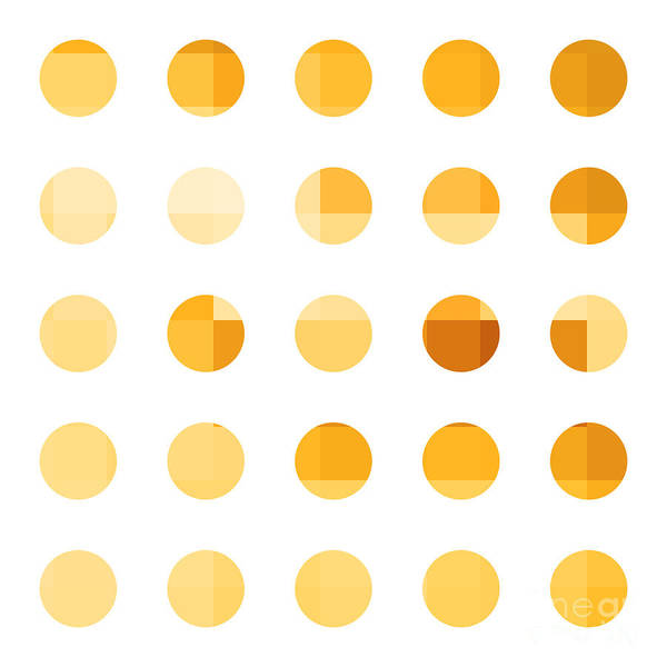 Abstract Poster featuring the painting Rainbow Dots Orange by Pixel Chimp