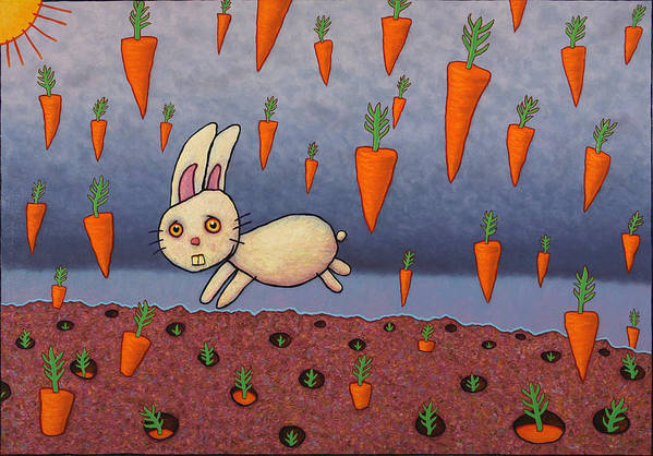 Bunny Poster featuring the painting Raining Carrots by James W Johnson