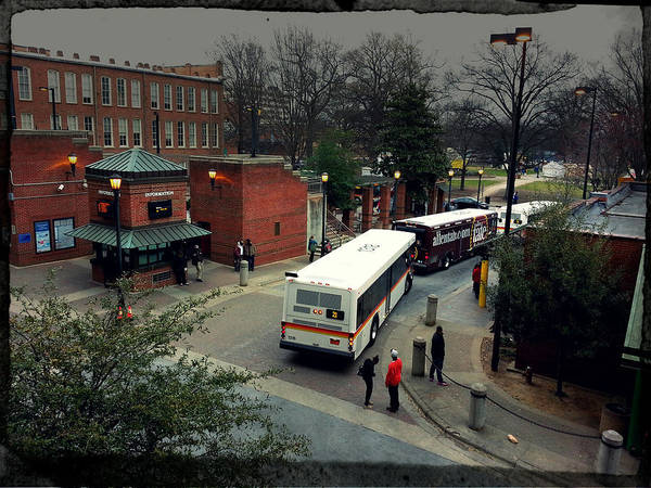 Popular Poster featuring the photograph Raleigh Bus Terminal - Evening by Paulette B Wright
