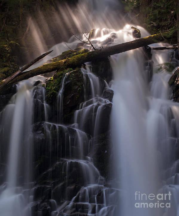 Ranger Falls Poster featuring the photograph Ranger Falls Sunbeams by Mike Reid
