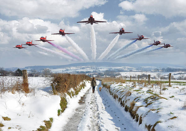 Epen Poster featuring the photograph Red Arrows Over Epen by Nop Briex