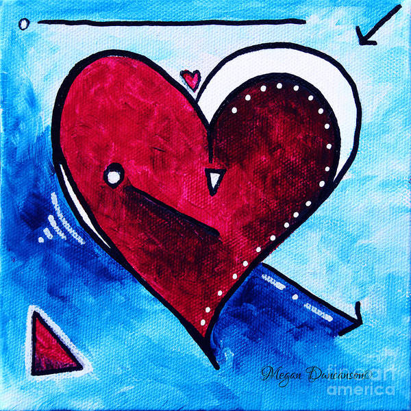 Red Poster featuring the painting Red Blue Heart Love Painting Pop Art Joy By Megan Duncanson by Megan Duncanson