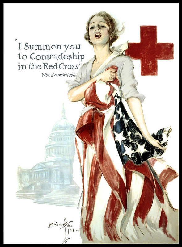 red Cross Poster featuring the digital art Red Cross World War 1 Poster 1918 by Daniel Hagerman