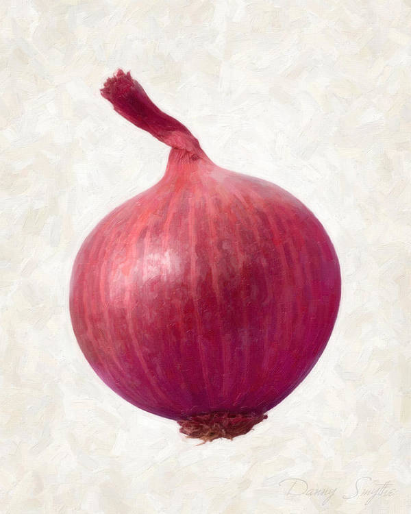 Red Poster featuring the painting Red Onion by Danny Smythe