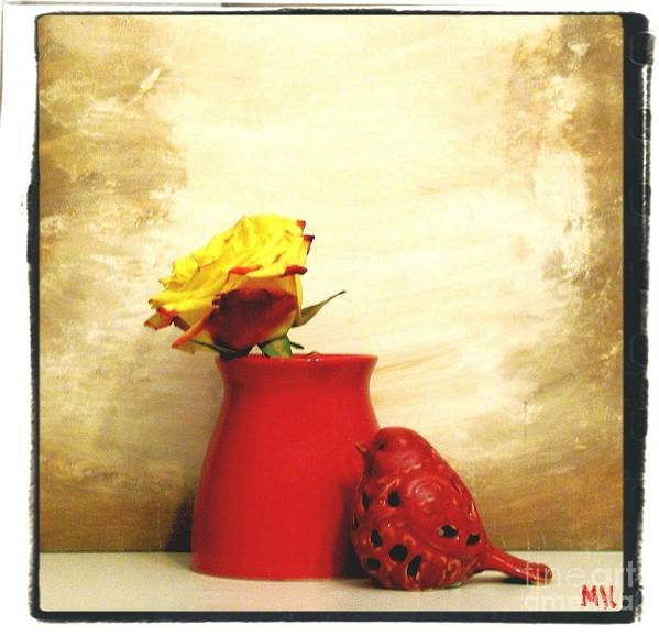 Photo Poster featuring the photograph Red Vase Red Bird And Red Yellow Rose by Marsha Heiken