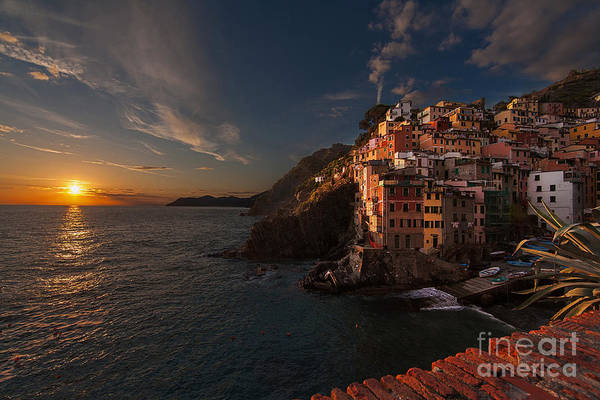Manarola Poster featuring the photograph Riomaggiore Peaceful Sunset by Mike Reid