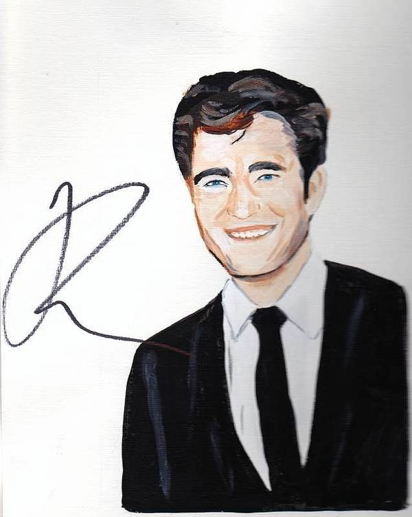 Robert Pattinson Autographed Painting Famous Faces Film Star Actor Movies Acrylic Poster featuring the painting Robert Pattinson 64a by Audrey Pollitt