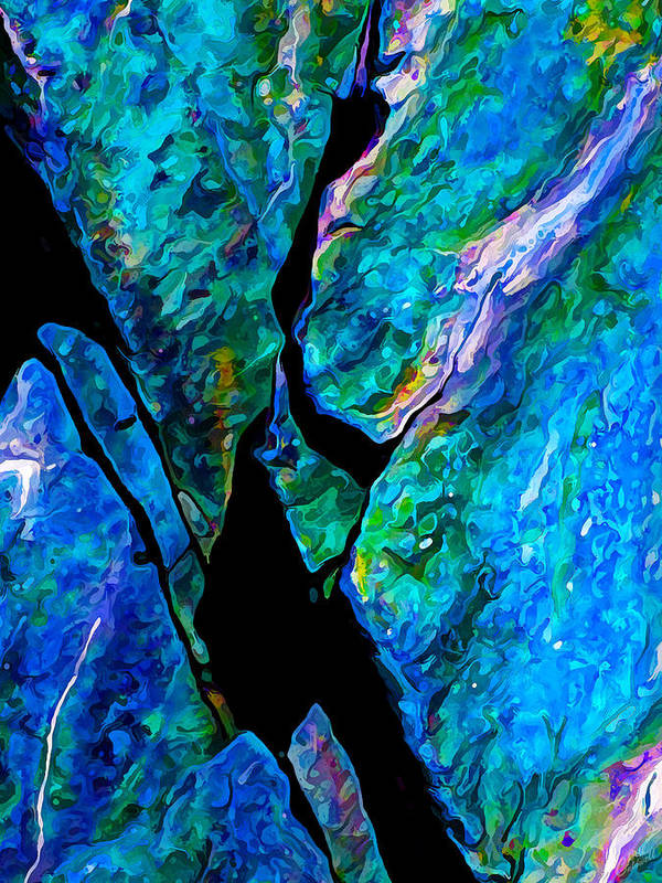 Nature Poster featuring the digital art Rock Art 17 In Aqua by Bill Caldwell -    ABeautifulSky Photography