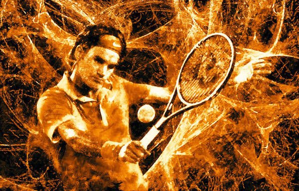 Art Federer Poster featuring the digital art Roger Federer Clay by RochVanh