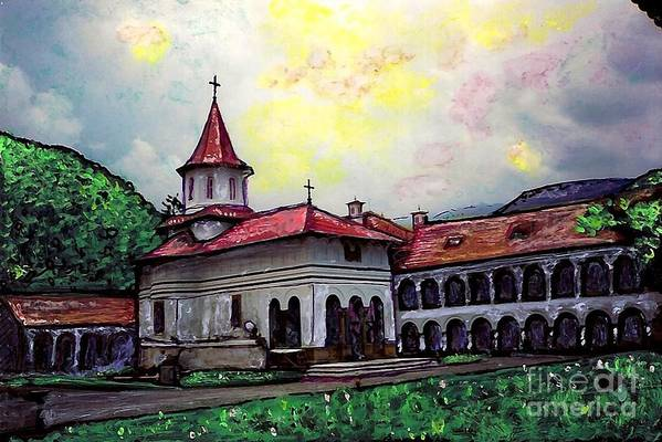 Romanian Monastery Poster featuring the mixed media Romanian Monastery by Sarah Loft