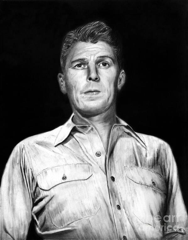 Ronald Regan Poster featuring the drawing Ronald Regan by Peter Piatt