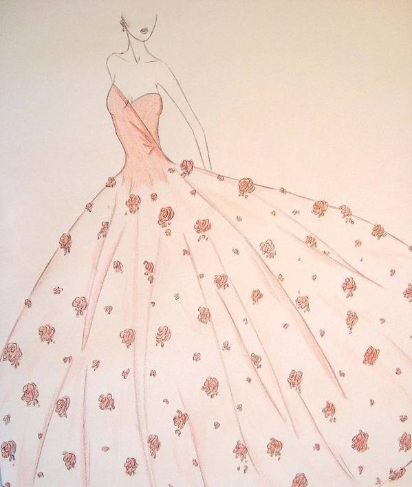 Fashion Illustration Poster featuring the drawing Rose Ball Gown by Christine Corretti