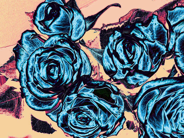 Rose Poster featuring the digital art Roses For A Blue Lady by Wendy J St Christopher