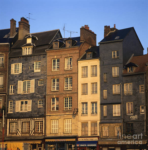 Apartment Architecture Building Buildings Calvados Condo Condominium Condominiums Condos Day Daylight Daytime During Estate Europe European Exterior Exteriors Facade Facades France French Front Fronts Harbour Honfleur House Houses Housing Market Markets Nobody Normandy Of Outdoor Photo Photos Properties Property Real Realties Realty Row Shot Shots The Poster featuring the photograph Row Of Houses. Honfleur Harbour. Calvados. Normandy. France. Europe by Bernard Jaubert