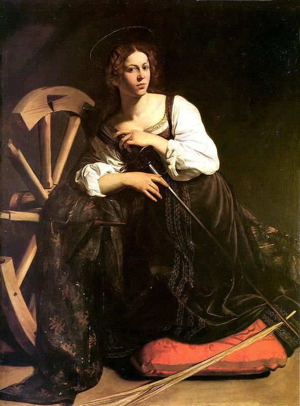 Caravaggio Poster featuring the digital art Saint Catherine Of Alexandria by Caravaggio