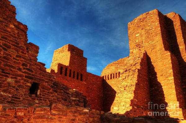 Salinas Pueblo Mission Ruins Poster featuring the photograph Salinas Pueblo Abo Mission Golden Light by Bob Christopher
