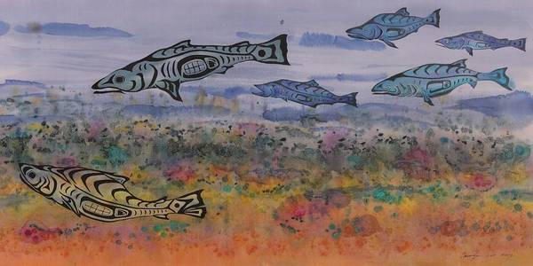 Salmon Poster featuring the tapestry - textile Salmon In The Stream by Carolyn Doe
