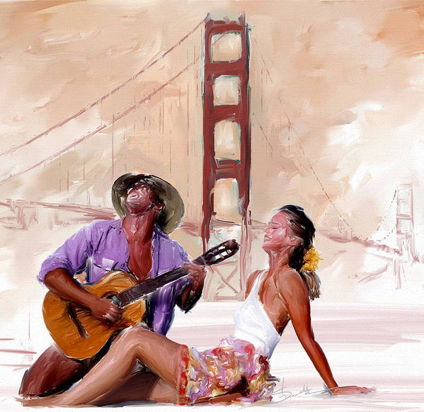 Man Poster featuring the painting San Francisco Guitar Man by Robert Smith