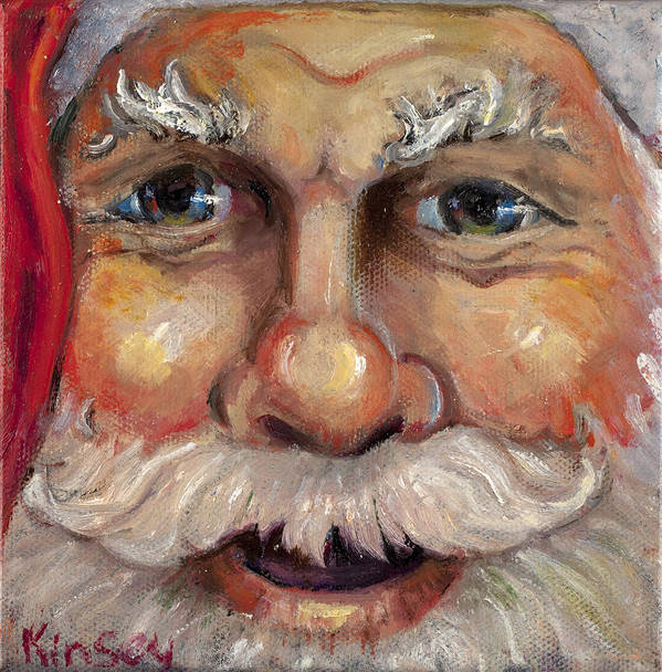 Santa Poster featuring the painting Santa Closeup by Sheila Kinsey
