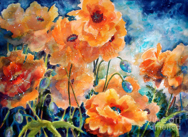 Paintings Poster featuring the painting September Orange Poppies      by Kathy Braud