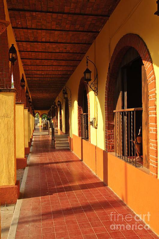 Tlaquepaque Poster featuring the photograph Sidewalk In Tlaquepaque District Of Guadalajara by Elena Elisseeva