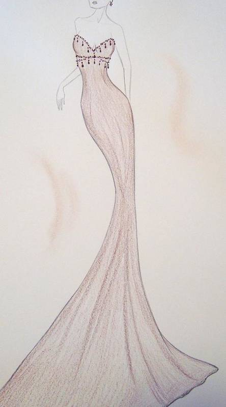 High Fashion Poster featuring the drawing Silken Mink by Christine Corretti