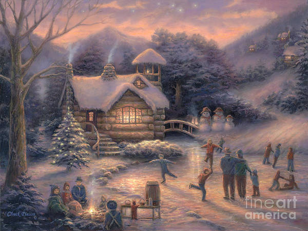 Snow Cabin Poster featuring the painting Skating By Twilight by Chuck Pinson