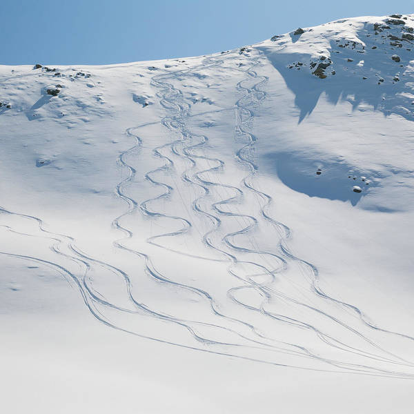 Ridge Poster featuring the photograph Ski Tracks In The Snow On A Mountain by Keith Levit