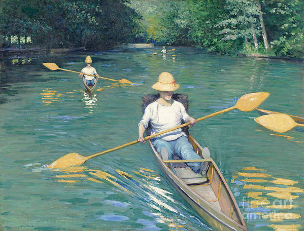Impressionist; Rowing; Boat; River; Male; Leisure; Summer; Sport; Water; Reflection; Hat Poster featuring the painting Skiffs by Gustave Caillebotte