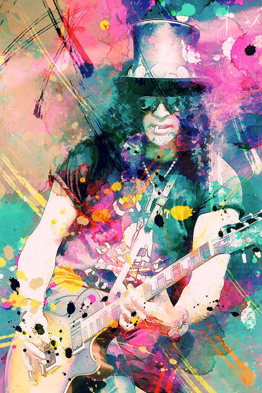 Slash Poster featuring the painting Slash by Rosalina Atanasova