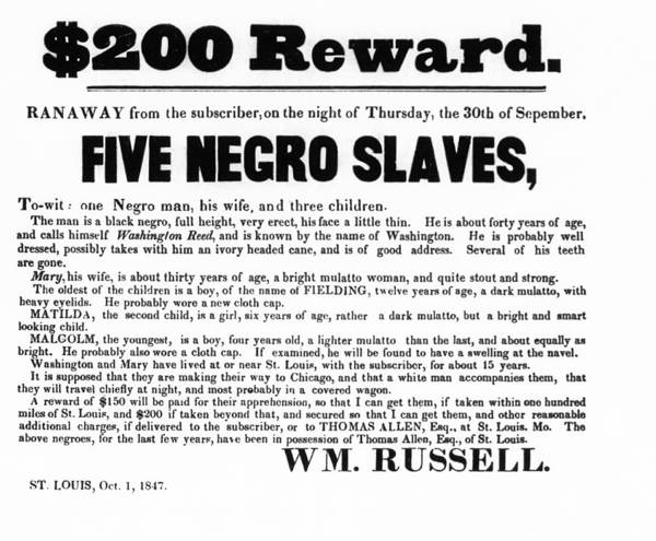 Slavery Poster featuring the photograph Slave Family And Children Escape - Reward Poster - 1847 by Daniel Hagerman