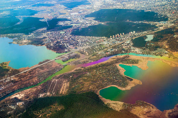 Aerial Poster featuring the photograph Somewhere Over Latvia. Rainbow Earth by Jenny Rainbow