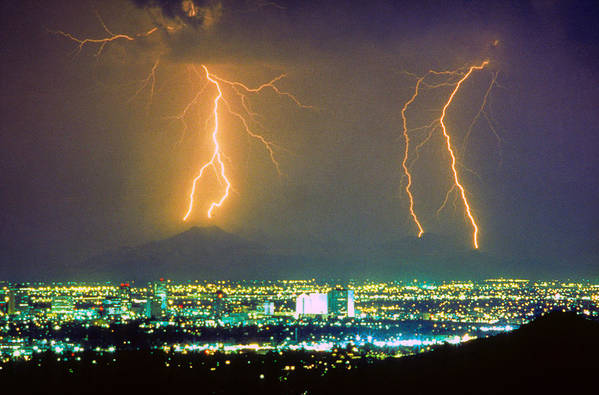 Lightning Poster featuring the photograph South Mountain Lightning Strike Phoenix Az by James BO Insogna