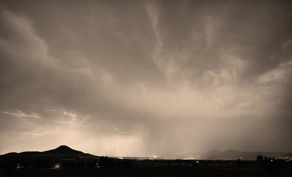 Lightning Poster featuring the photograph Spider Lightning Above Haystack Boulder Colorado Sepia by James BO Insogna