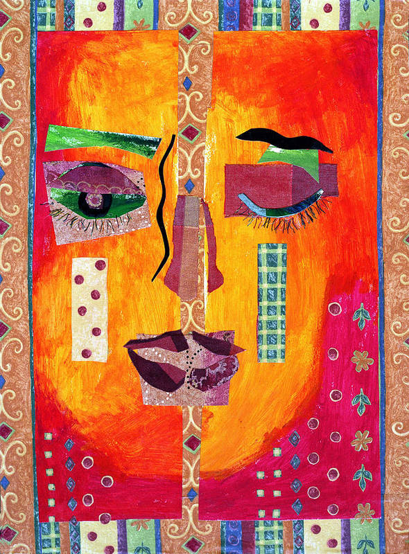 Mixed Media Collage Poster featuring the mixed media Split Personality by Diane Fine