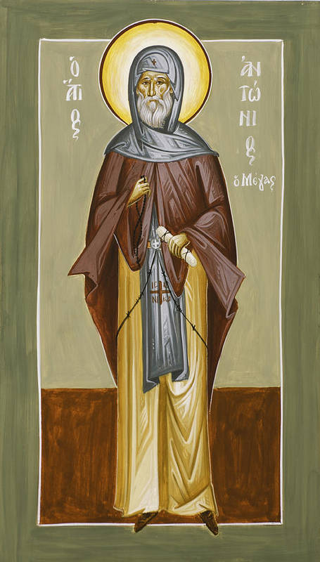 St Anthony The Great Poster featuring the painting St Anthony by Julia Bridget Hayes